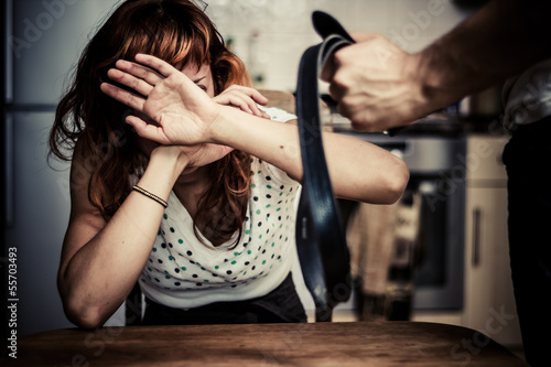 woman in fear of domestic violence