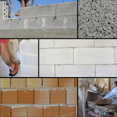 Construction site - Collage brick wall