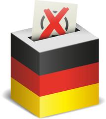 Wahlurne Deutschland mit Wahlzettel und Kreuz