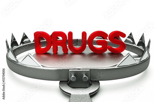 Drugs pills in mousetrap isolated on white background 3D Render