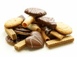 Assorted cookies with chocolate and nuts on  white background