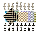 Chess set brown and black