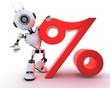 Robot with percentage symbol
