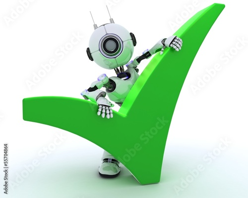 Robot with tick symbol