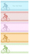 Four silhouette backgrounds with female cycling