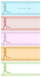 Four silhouette backgrounds with female running