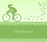 Silhouette background with female cycling