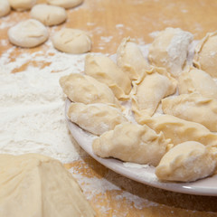 uncooked dumplings on the table