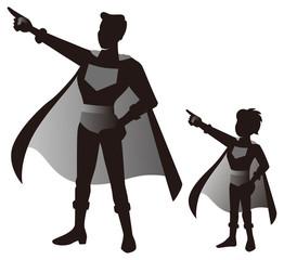 スーパーヒーローの親子