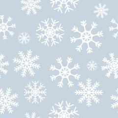White snowflakes on gray background