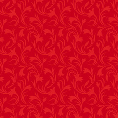 Seamless red floral pattern. Vector illustration.
