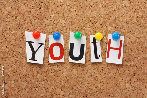 The word Youth on a cork notice board