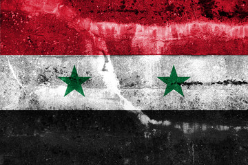 Syria Flag painted on grunge wall
