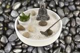 mini jardin zen sur galets noirs