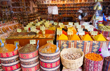 Various spices and herbs at the market