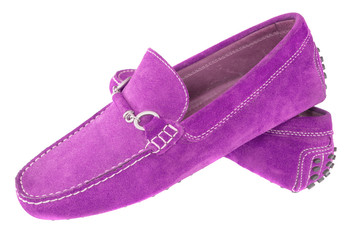 Pair of purple men shoes isolated over white