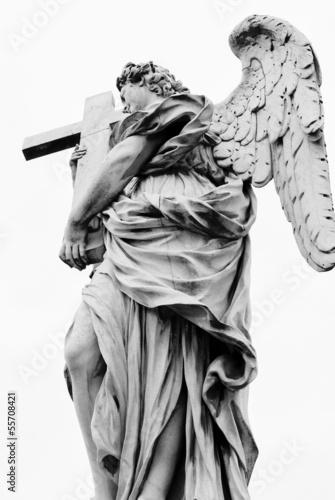 Angel with the cross. Ponte Sant'Angelo, Aelian Bridge,Rome - 55708421
