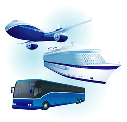 Travel transportation set. Vector.
