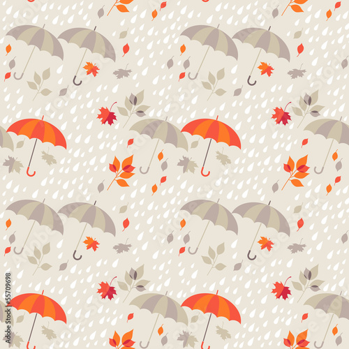Seamless background - autumn rain, umbrellas and leaf fall