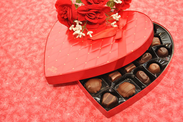 Opened Heart Box of Chocolates with Roses