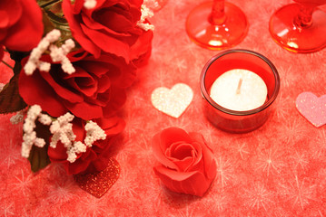 Romantic Hearts and Red Roses