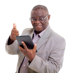 senior african man with tablet computer