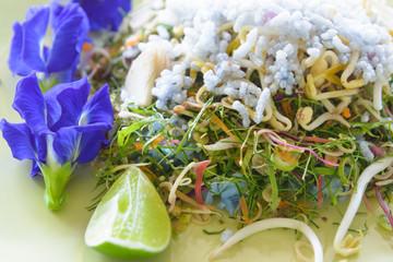khao yam, rice salad, thai cuisine