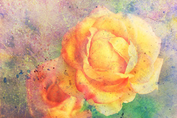 watercolor artwork with yellow roses