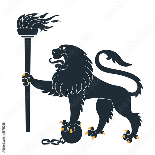 Heraldic lion  with torch