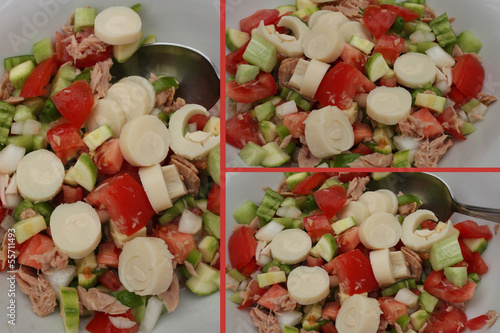 Salade composée : Thon  Coeur de palmier ....