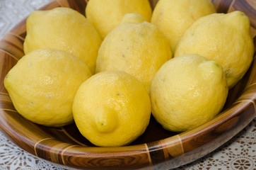 lemons in wooden container