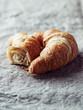 Croissant on linen cloth