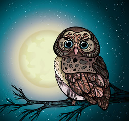 Cartoon owl and full moon.