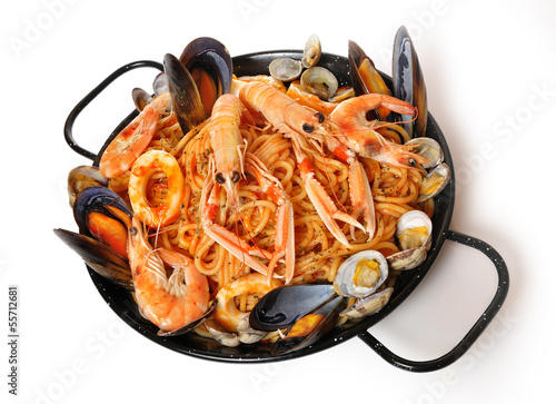 Receta de spaghetti y marisco