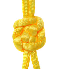 Knot of yellow silk lace.