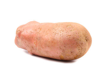 Red potatoe on white with clipping path