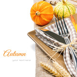 Fototapety Autumn table setting with pumpkins