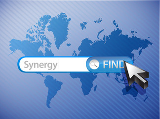synergy search world map illustration