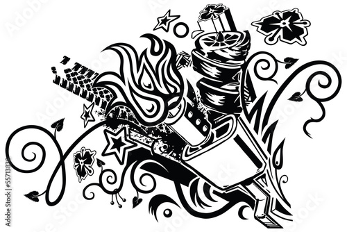 muffler explosion tattoo vector clip art
