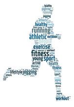 Słowa ilustracja człowiek jogging na białym tle