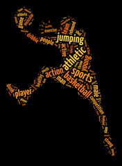 Words illustration of basketball player over black background