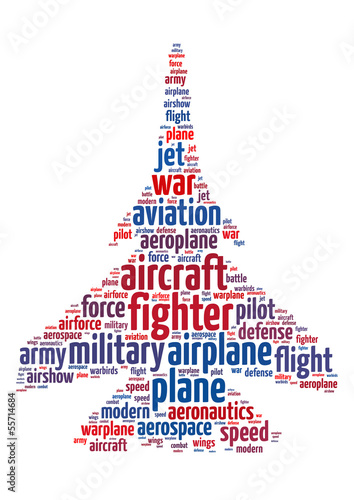 Words illustration of a military aircraft over white background