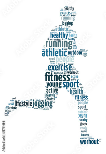 Words illustration of a man jogging over white background