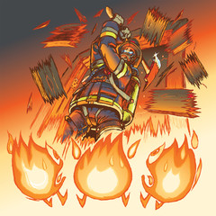 Firefighter attacks cartoon flames with an axe vector illustrati