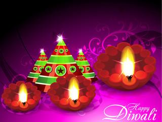 Diwali Greeting Card With Cracker