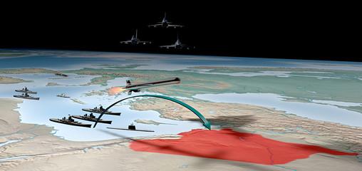 Conflitto Siria attacco militare cartina medio oriente