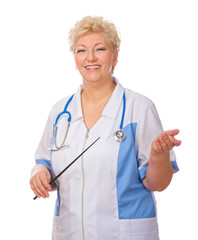 Mature doctor with pointer