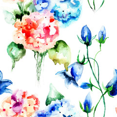 Seamless wallpaper with original flowers