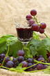 Red wine in wine glass with sweet grapes.