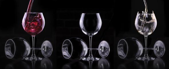 Elegant white wine glass in black background